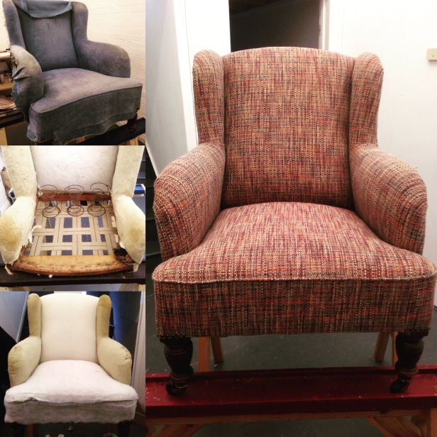 wingback armchair with a traditionally rebuilt sprung back
