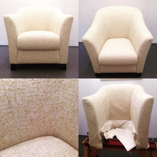 updated armchair in Honey Romo Fabric