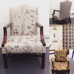 Georgian armchair restored traditionally and upholstered in bespoke prints from Kew Textiles