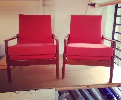 1950's Danish armchairs, modern rebuild with foam cushions