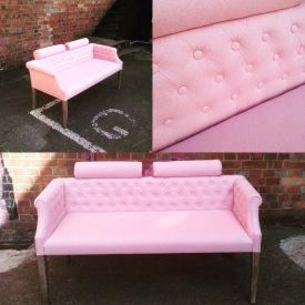pretty in pink sofa, modern rebuild and traditional quilted finish