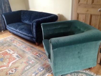 blue velvet sofa, fabric by Linwood teal velvet armchair, fabric by Linwood