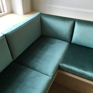 Banquette seating for Coal Rooms Peckham