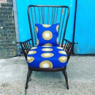 Parker Knoll with bespoke cushion in African Wax Print